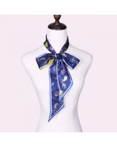Corciova 12 Momme Twill 100% Real Mulberry Silk thin narrow long ribbon silk Women small Scarves Flower Pattern