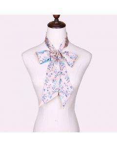 Corciova 12 Momme Twill 100% Real Mulberry Silk thin narrow long ribbon silk Women small Scarves Small Floral Pattern