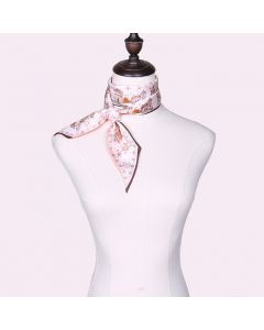 Corciova 12 Momme Twill 100% Real Mulberry Silk thin narrow long ribbon silk Women small Scarfs Scarves Castle Pattern