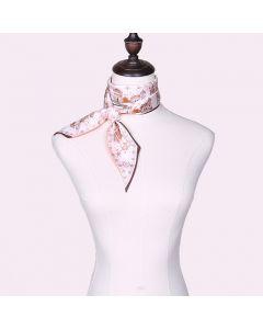 Corciova 12 Momme Twill 100% Real Mulberry Silk thin narrow long ribbon silk Women small Scarves Castle Pattern