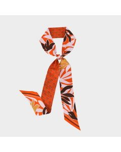 Corciova 12 Momme Twill 100% Real Mulberry Silk thin narrow long ribbon silk Women small Scarves Geometry and Leaves Pattern