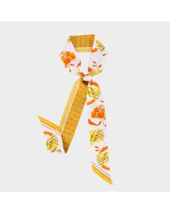 Corciova 12 Momme Twill 100% Real Mulberry Silk thin narrow long ribbon silk Women small Scarves Daisy Pattern