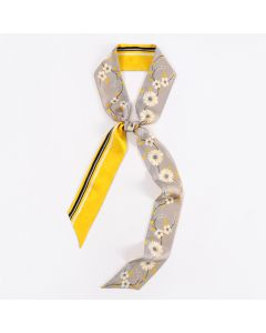 Corciova 12 Momme Twill 100% Real Mulberry Silk thin narrow long ribbon silk Women small Scarfs Scarves Yellow Daisy Pattern