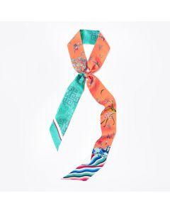 Corciova 12 Momme Twill 100% Real Mulberry Silk thin narrow long ribbon silk Women small Scarves Sea Wave Pattern
