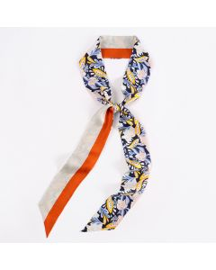 Corciova 12 Momme Twill 100% Real Mulberry Silk thin narrow long ribbon silk Women small Scarves Blue Flower Pattern