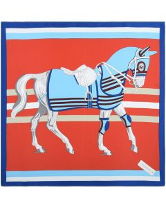21 Inches 53 CM Womens Real Silk Square Scarf Horse Pattern