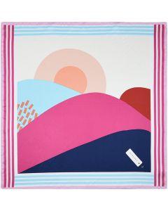 Corciova 21 Inches 100% Real Silk Mountain and Sun Neck Scarf Small Square Scarves Neckerchiefs