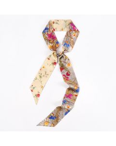 Corciova 12 Momme Twill 100% Real Mulberry Silk thin narrow long ribbon silk Women small Scarfs Scarves Lovely Little Flower Pattern