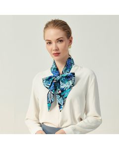 Corciova 12 Momme Satin 100% Real Mulberry Silk thin narrow long ribbon silk Women small Scarves Blue Flowers and Grasses Pattern