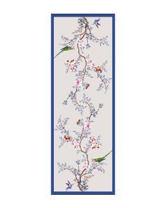Corciova 12 Momme Double Layer 100% Real Mulberry Silk Long Women Scarfs Scarves Bird and Peach Blossom Pattern